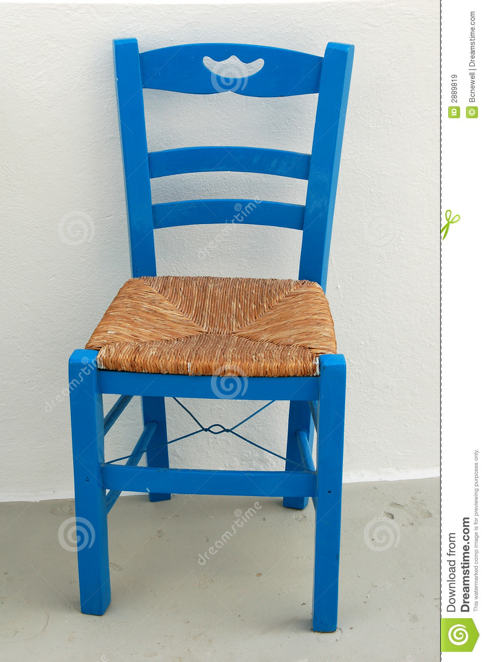 Blue Chair on Greek Patio stock image Image of white