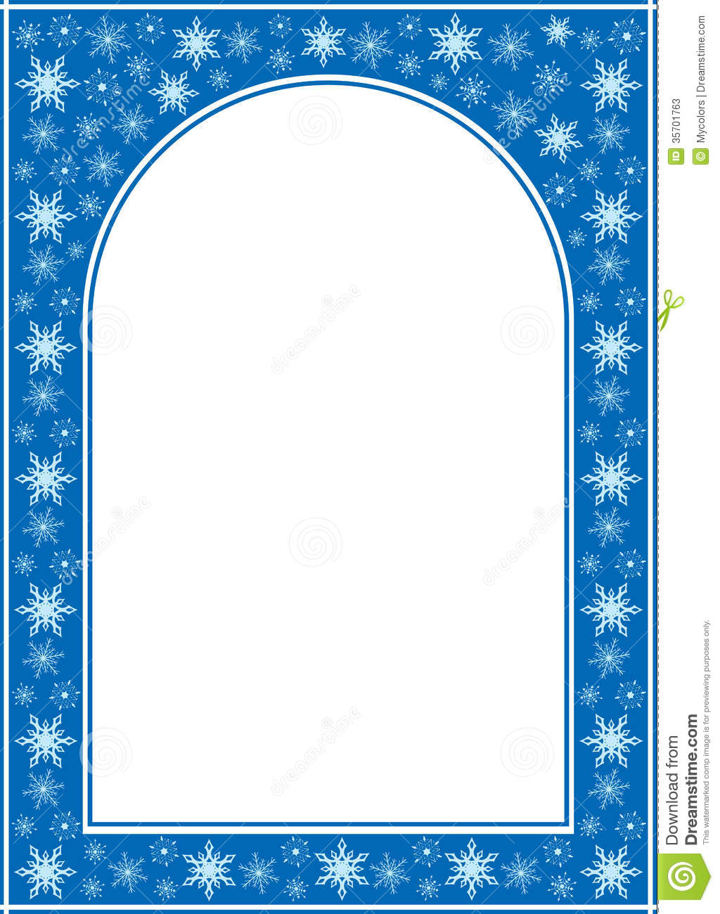 Blue Christmas Vector Frame With White Center Stock Vector