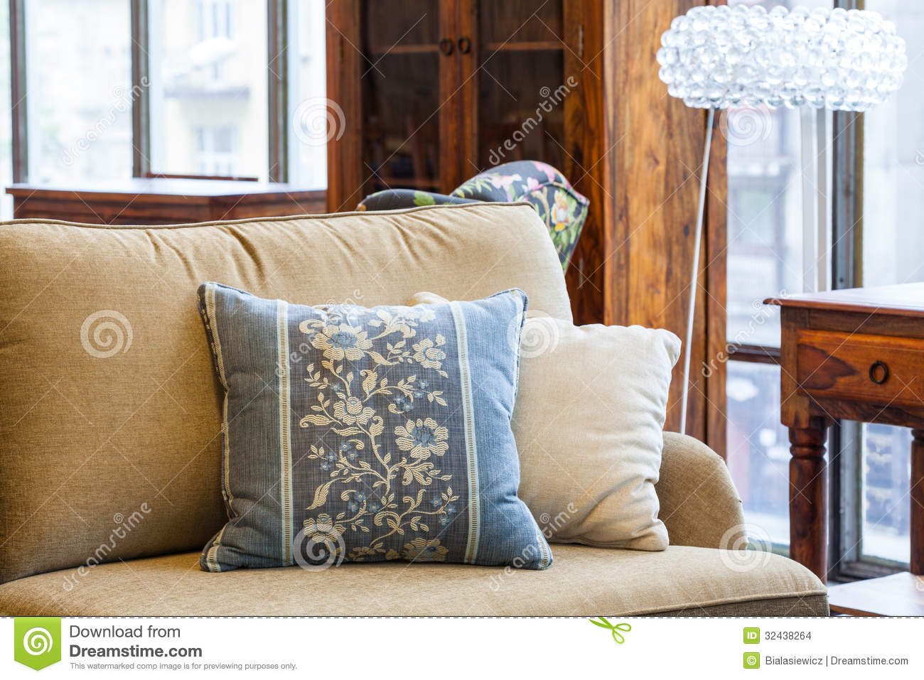 cushion ideas for light brown sofa repairing a bed frame blue and cream pillows stock images image 32438264