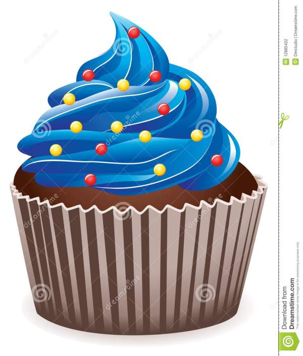 blue cupcake with sprinkles stock