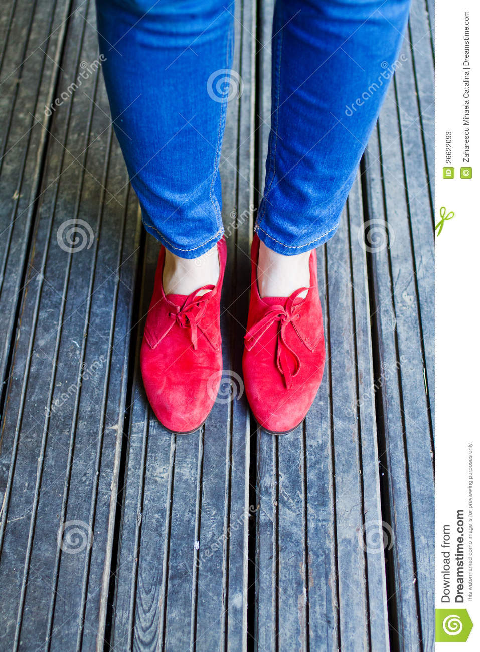 Blue Denim And Red Shoes Stock Photos Image 26622093