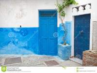 Blue Doors And White Walls. Tanger, Morocco Stock Image ...