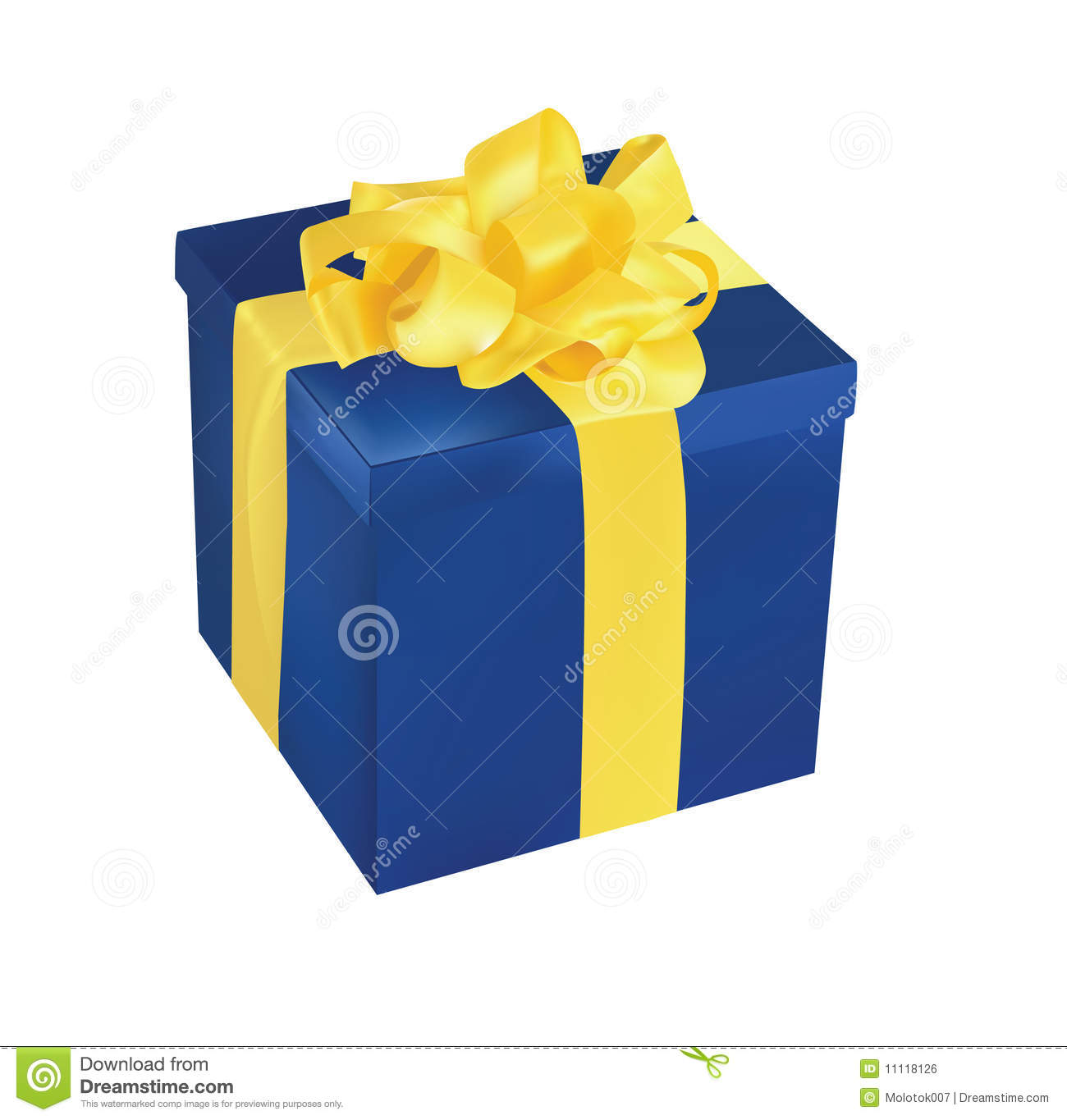 Blue Gift Box With Yellow Ribbon Stock Vector