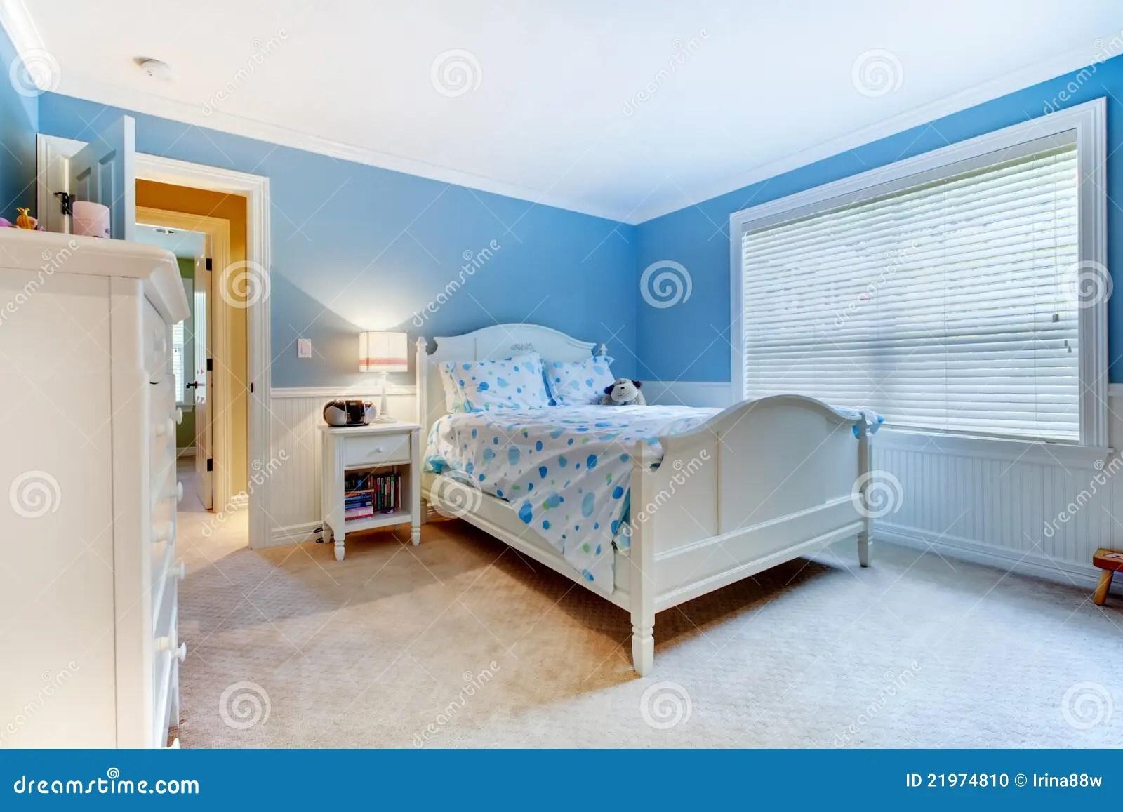 Blue Girls Kids Bedroom Interior Stock Photo  Image