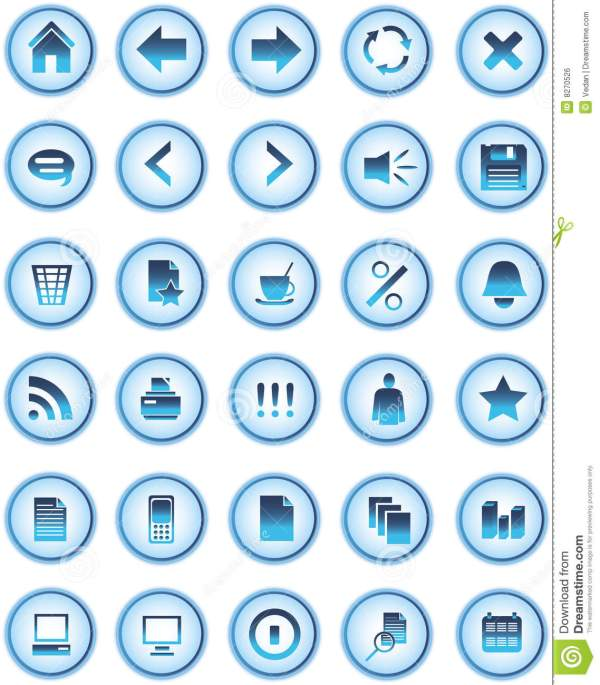Blue Glass Web Icons Buttons Royalty Free Stock Image