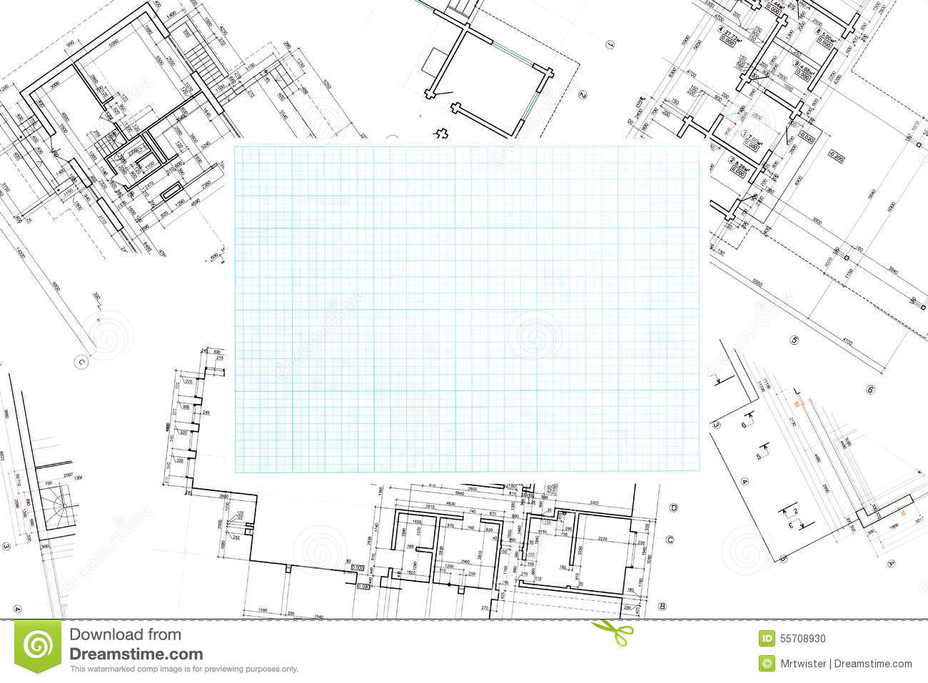 Blue Grid Graph Paper With Blueprints Background Stock