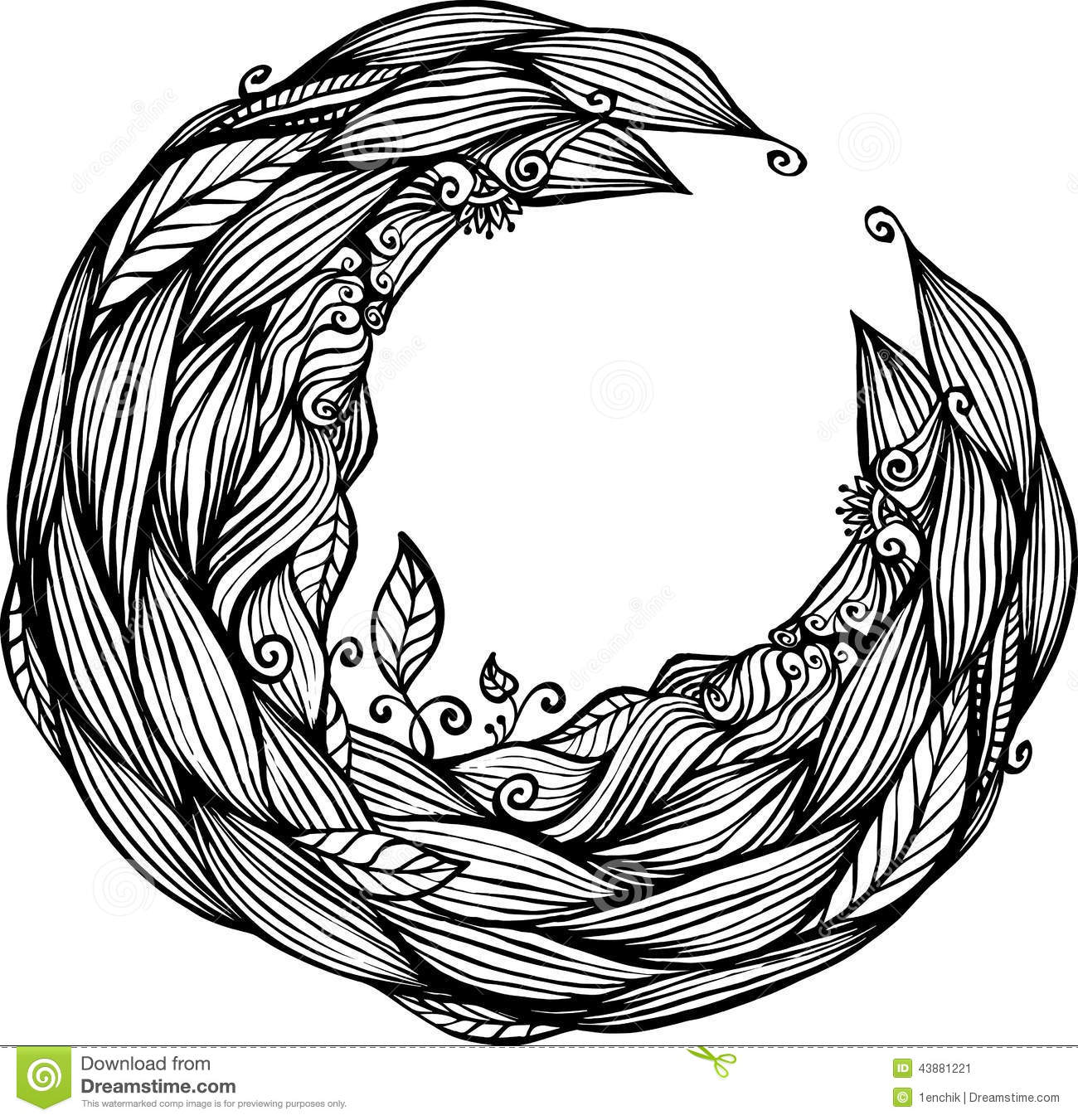 Blue Hair Waves Doodle Circle Frame Stock Vector