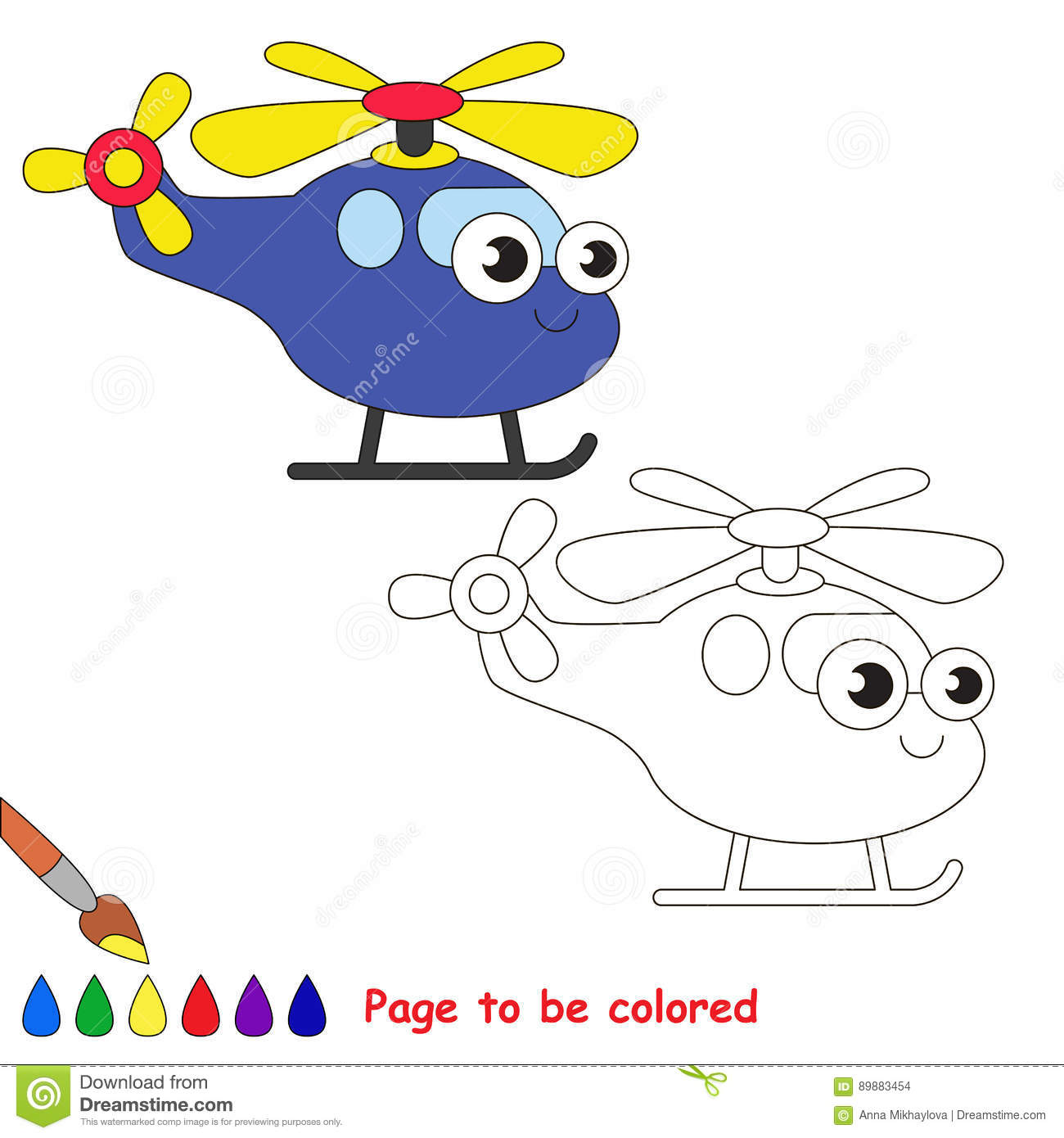Blue Helicopter Cartoon Page To Be Colored Stock Vector