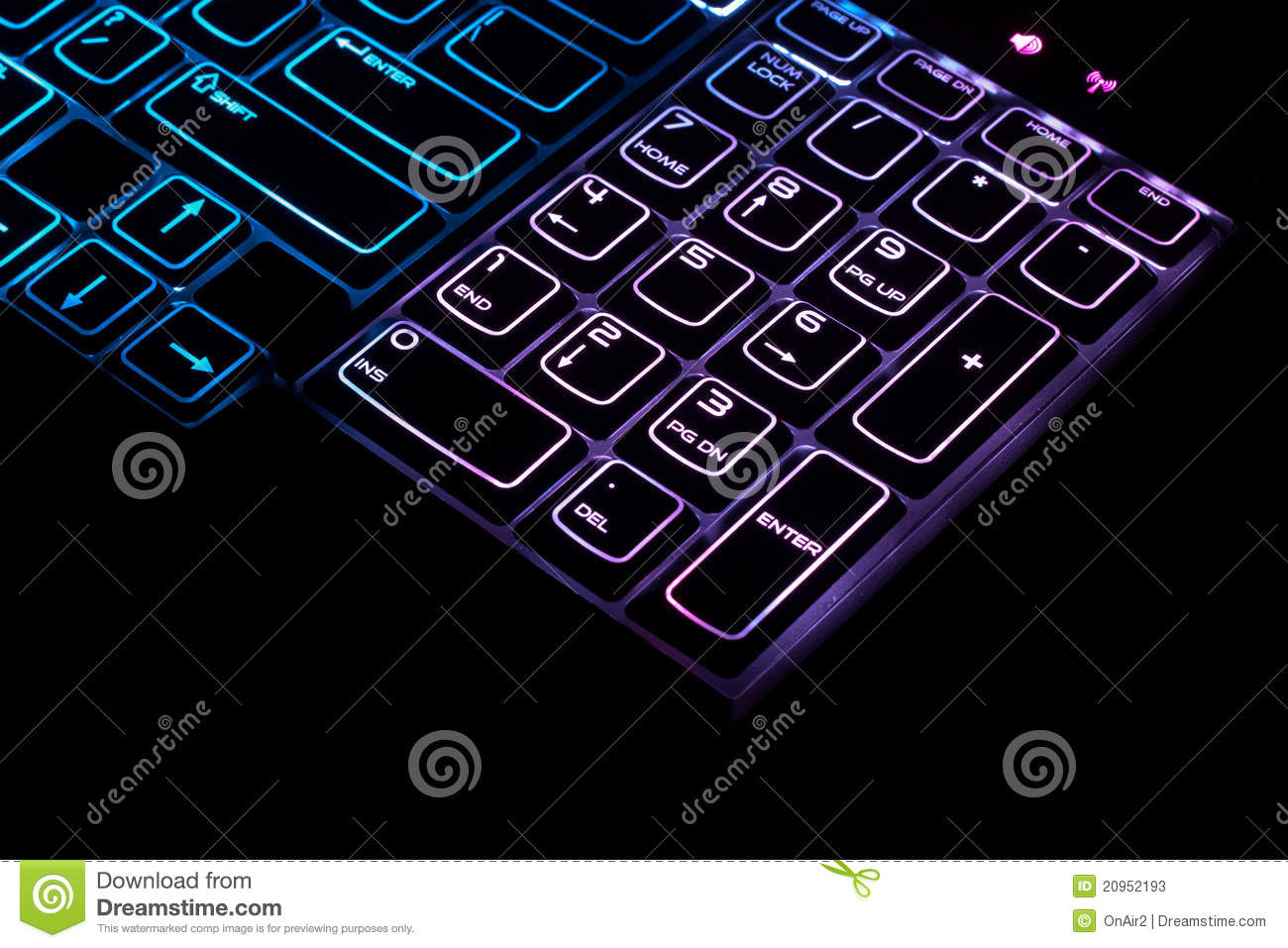 Blue High Tech PC Computer Keyboard Stock Image Image Of