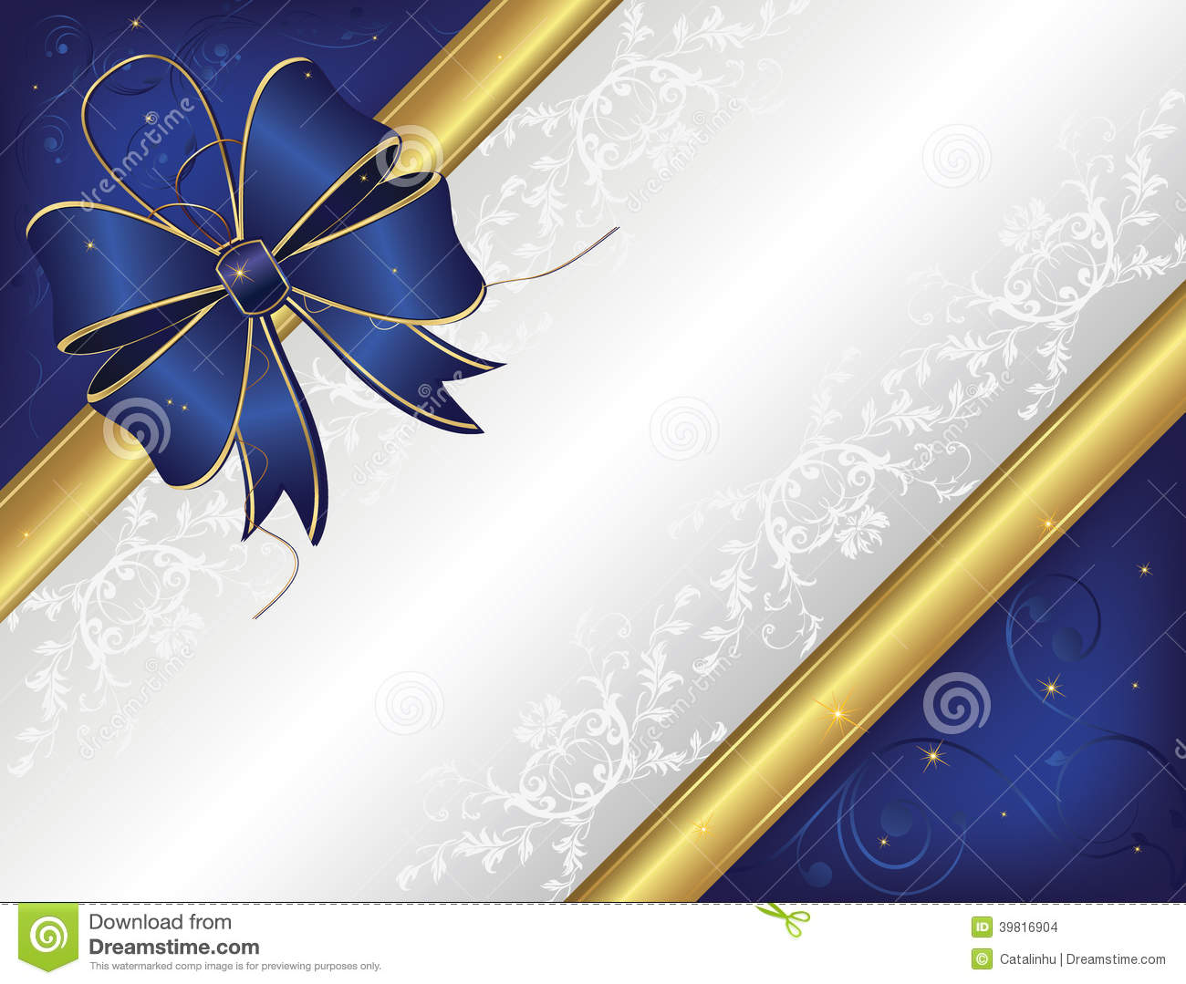 Blue Invitation Card With A Big Ribbon Stock Vector