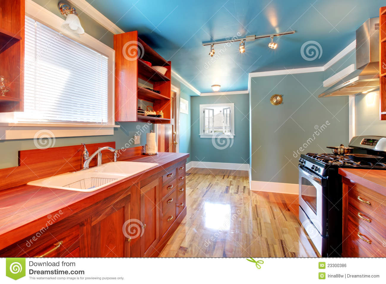 kitchen chair design plans kennedy rocking blue with cherry cabinets and shiny floor. stock photo - image: 23300386