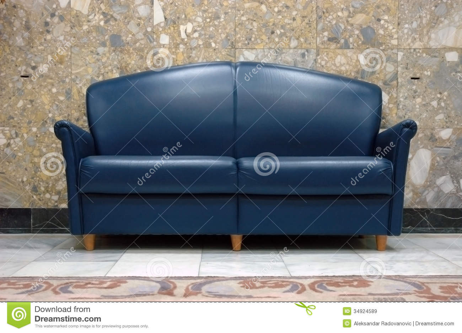Blue leather sofa stock image Image of room lifestyle  34924589