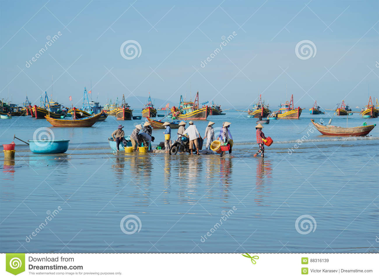 Blue Morning In The Harbour Of The Fishing Village Of Mui Ne. South Vietnam Editorial Stock Image - Image of sunny. boat: 88316139