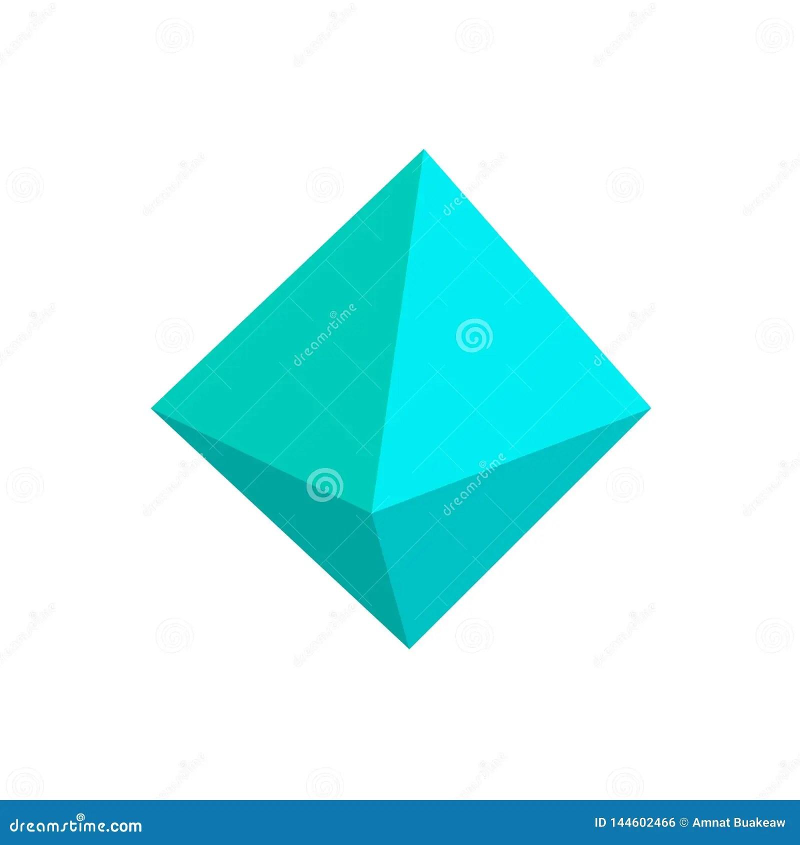 Blue Octahedron Basic Simple 3d Shapes Isolated On White