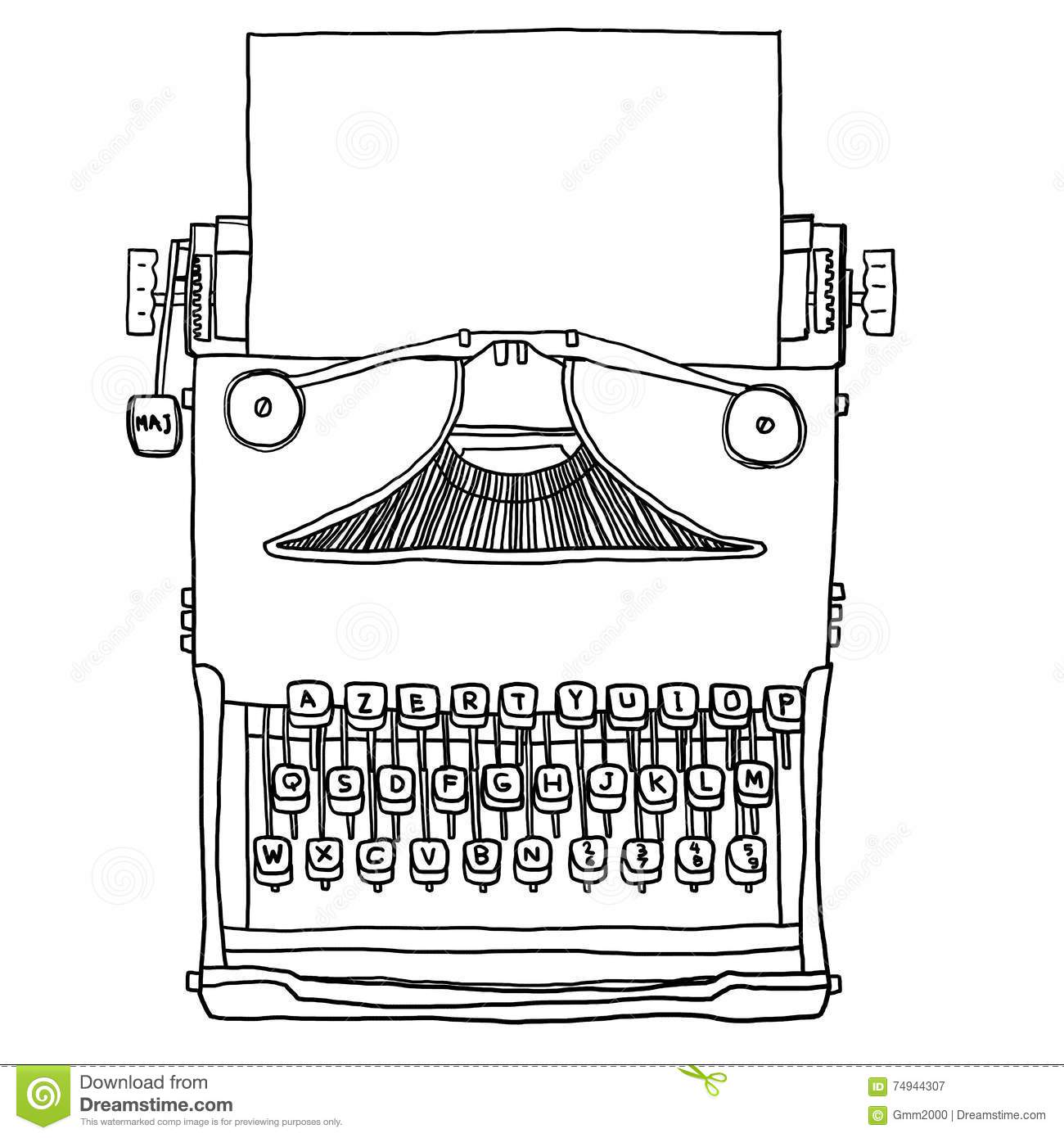 Blue Old Typewriter With Paper Hand Drawn Cute Line Art