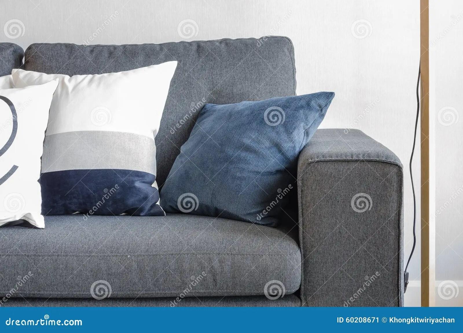 Blue Pillows On Modern Grey Sofa Stock Image  Image 60208671