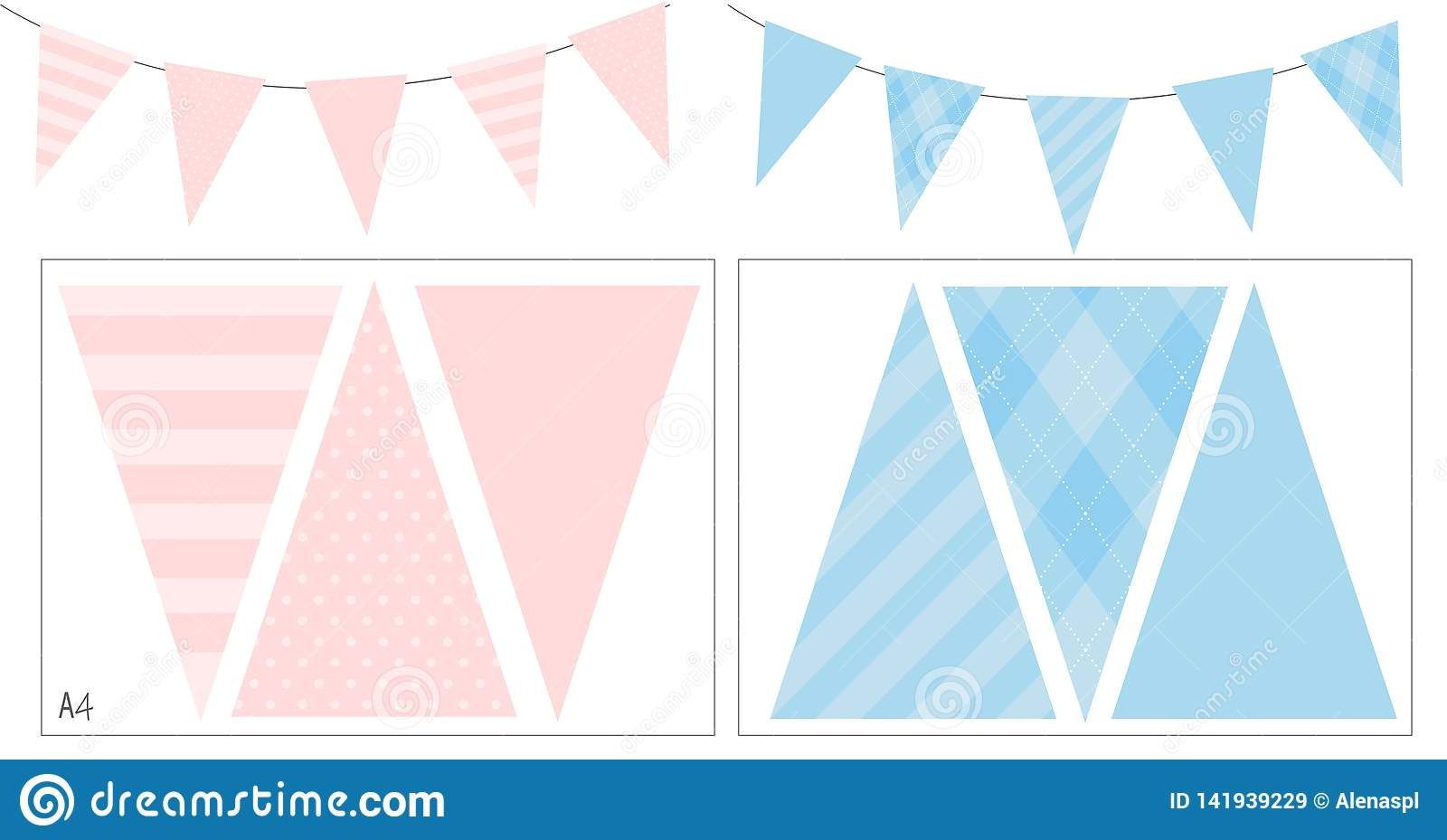 Blue And Pink Party Banner Flag For Baby Shower Birthday