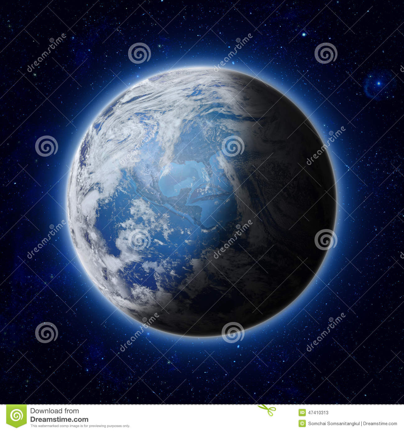 Blue Planet Earth In Space America Usa Path Of World