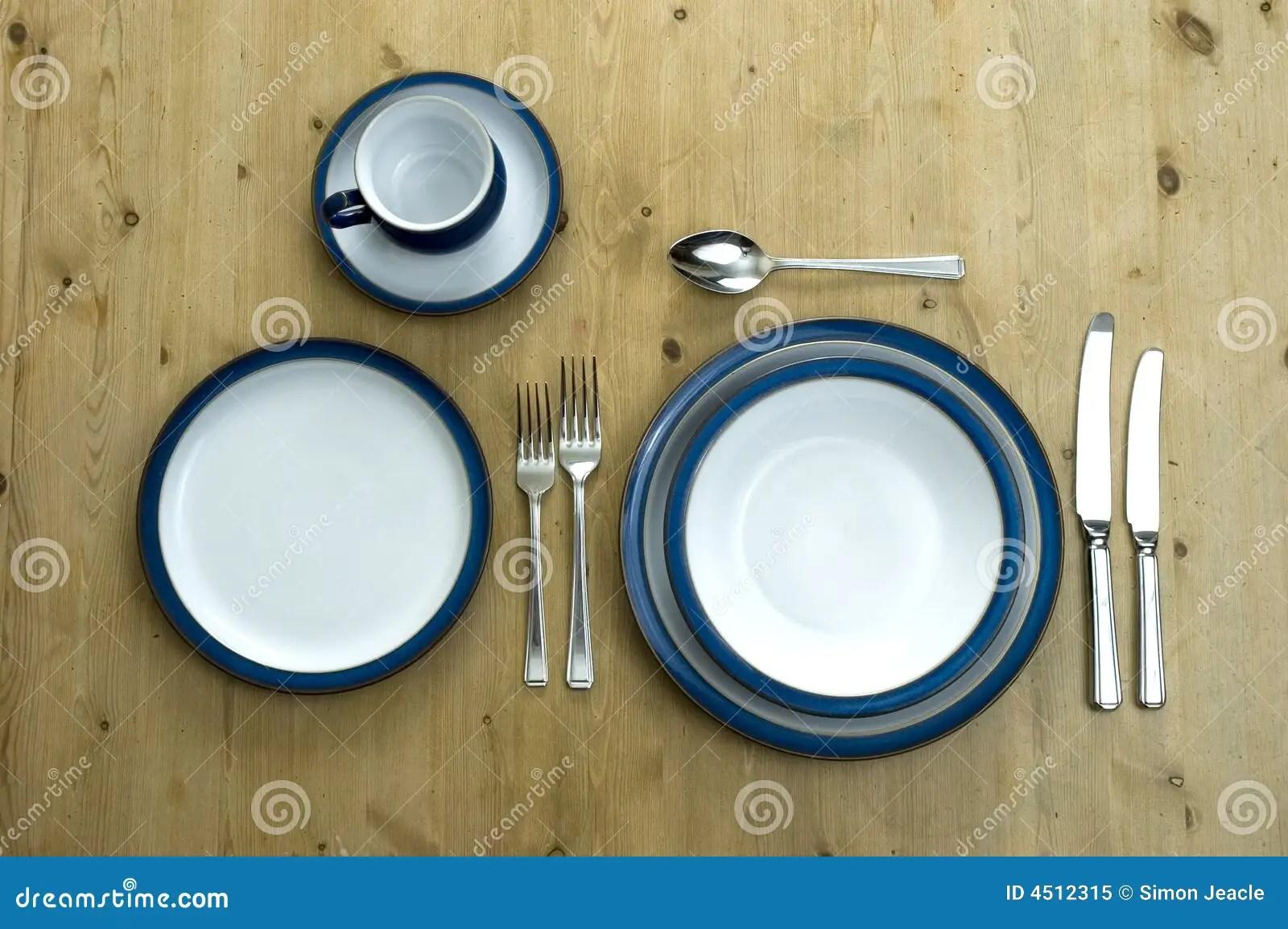 Blue Plate Setting stock image Image of delph dinner