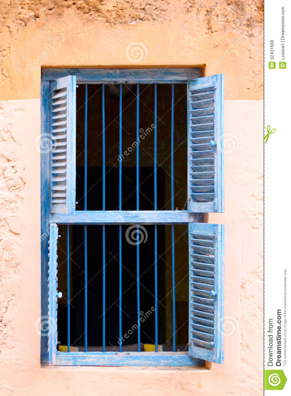 Blue Prison Bars And Wooden Louvred Shutters Royalty Free