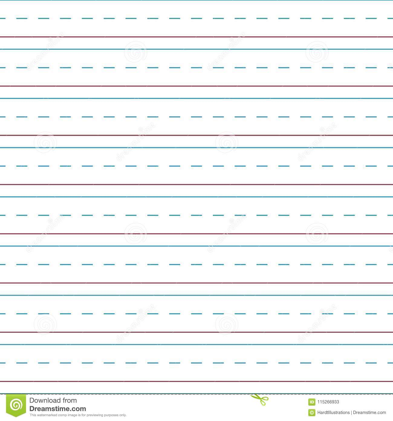 Cursive Handwriting Tablet Paper Seamless Pattern Stock