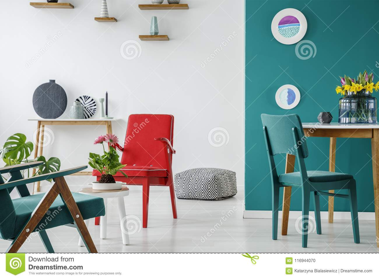 Red Living Room Chair Blue And Red Living Room Stock Photo Image Of Decor 116944070