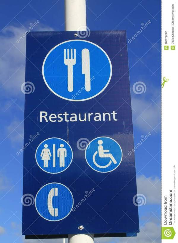 Blue Restaurant And Information Sign Stock