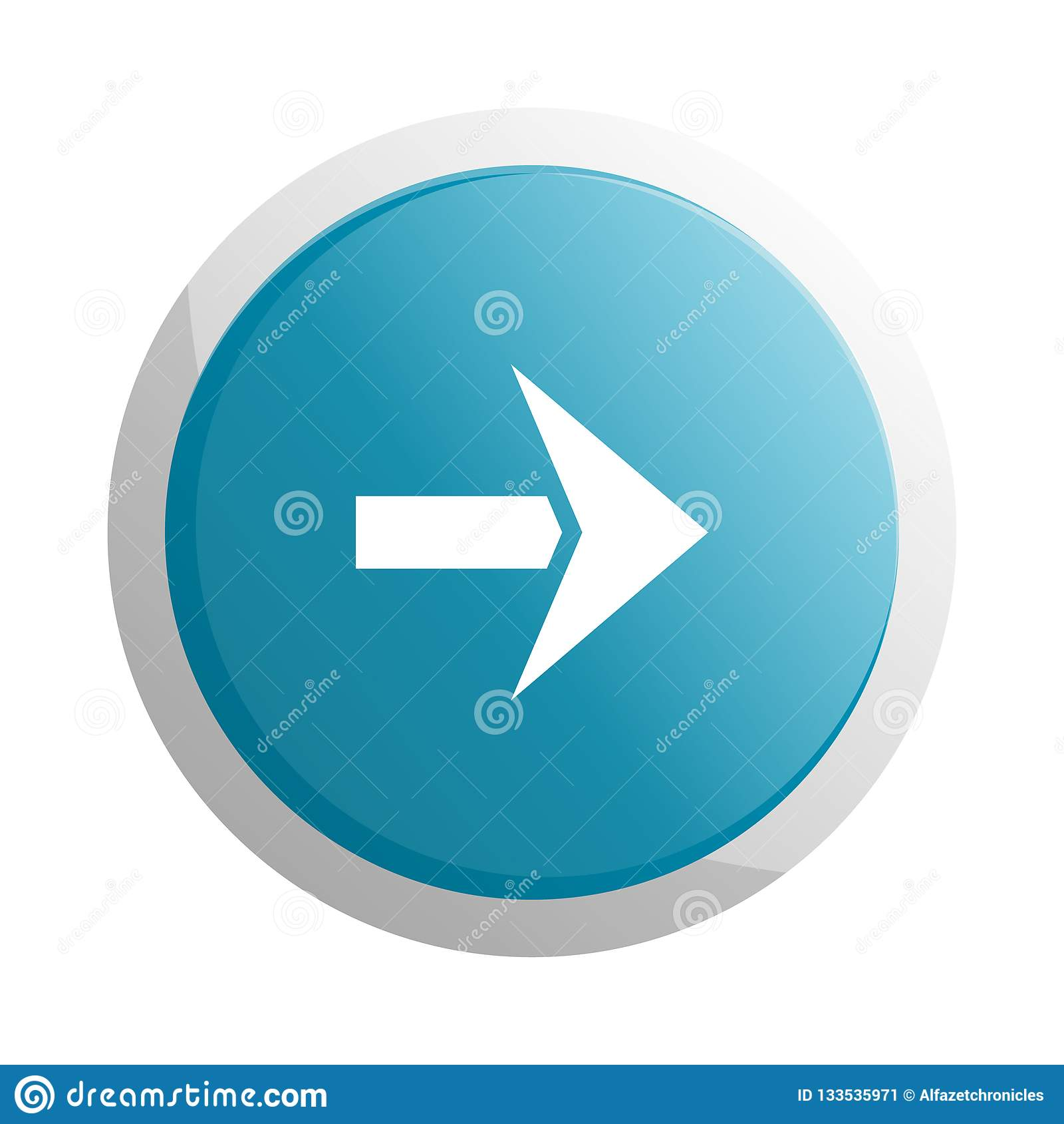 blue round button with