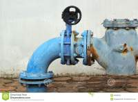Blue Rusty Metal Industrial Water Pipes With A Valve ...