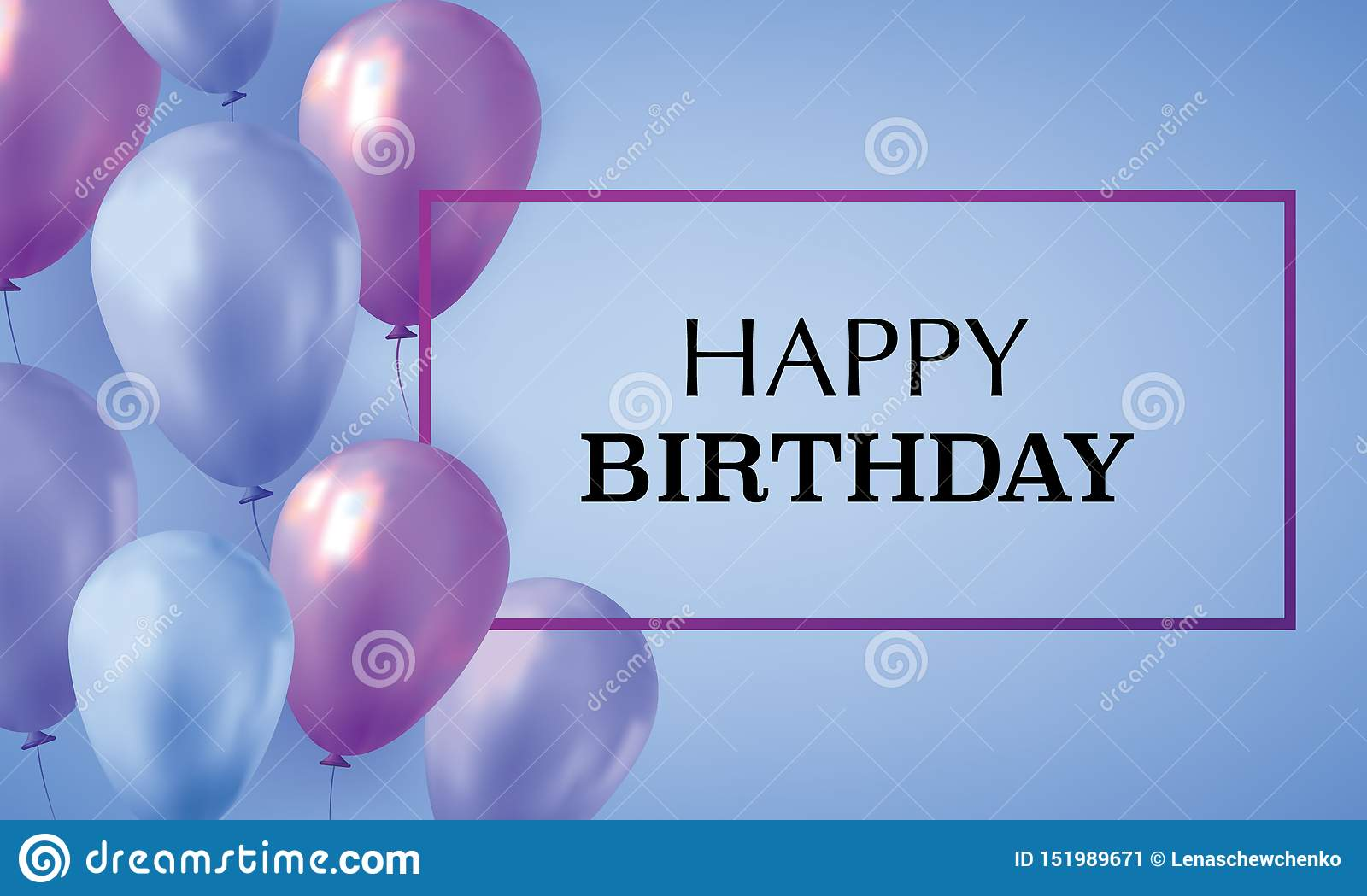 https www dreamstime com blue violet realistic balloons filled helium blue background text happy birthday invitation card blue violet image151989671