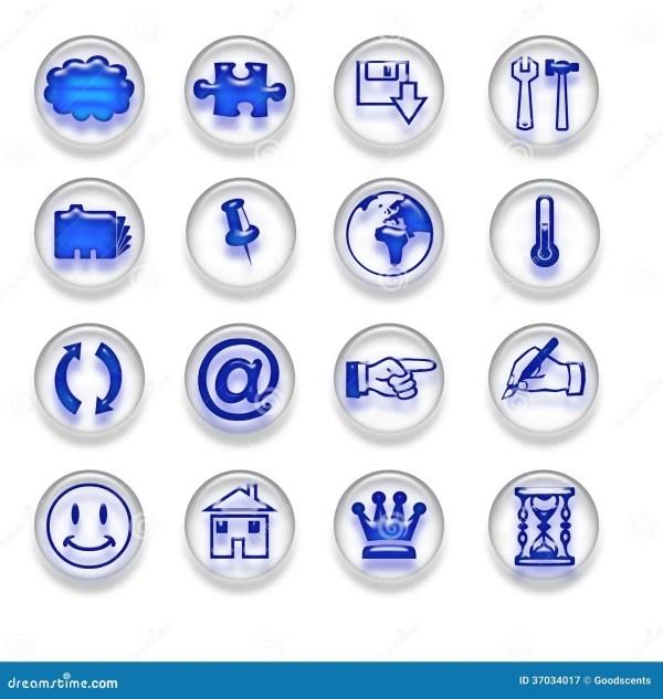 Blue Web Icons Buttons Set Part 2 Stock Image
