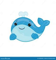 Blue Whale Cartoon Of Marine Life Summer Season Animal Cartoon Vector Design Cute Print With Whale For Baby Stock Illustration Illustration of baby animal: 154028288