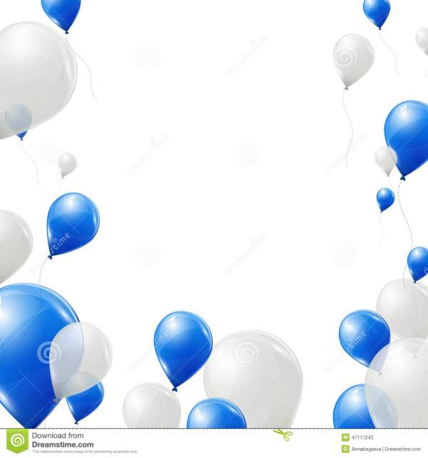 blue and white balloons background