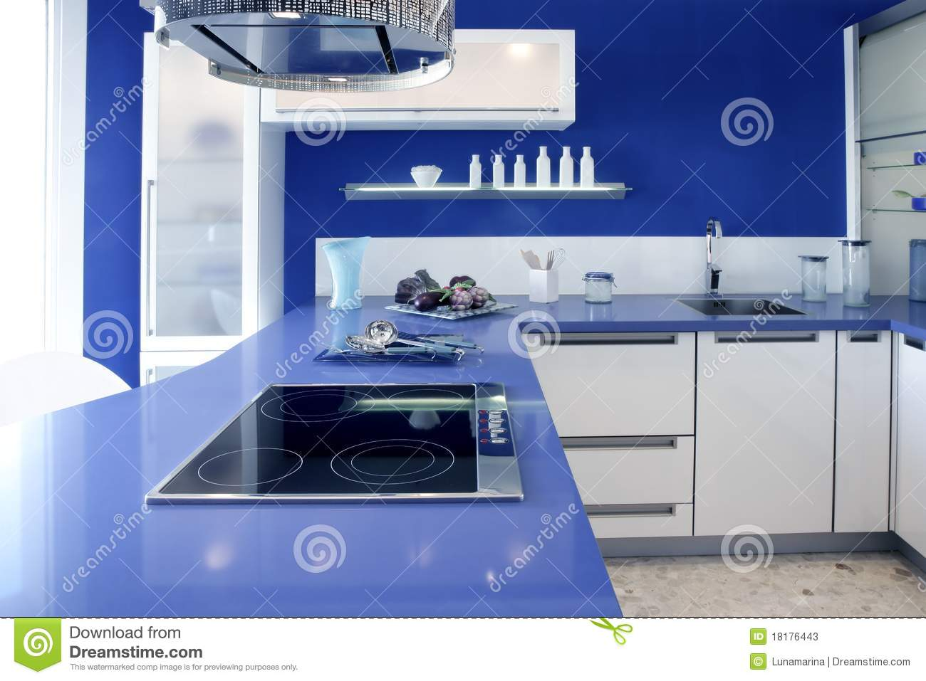 Blue White Kitchen Modern Interior Design House Stock Image Image 18176443