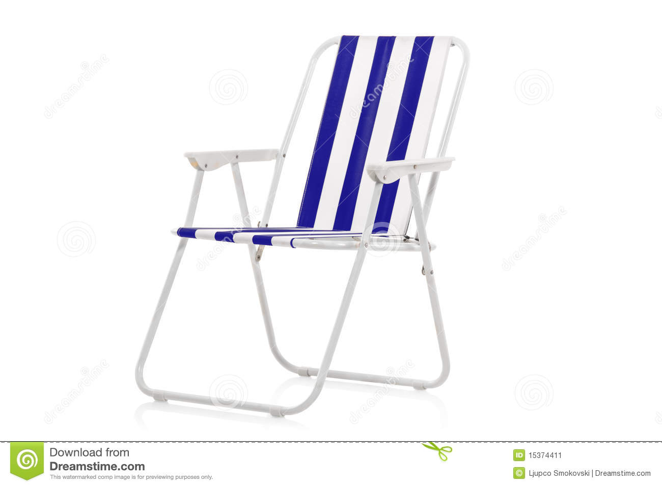 Blue And White Striped Chair Blue And White Striped Beach Chair Stock Image Image