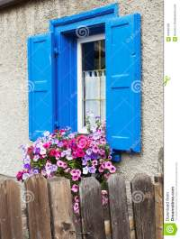 Blue window and flowers stock image. Image of decoration ...