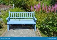 Blue garden bench stock photo. Image of park, spring ...