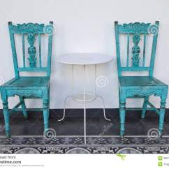 Old Blue Chair Desk Sinking Wooden With Table Royalty Free Stock