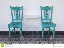 Blue Wooden Chair With Table. Royalty Free Stock