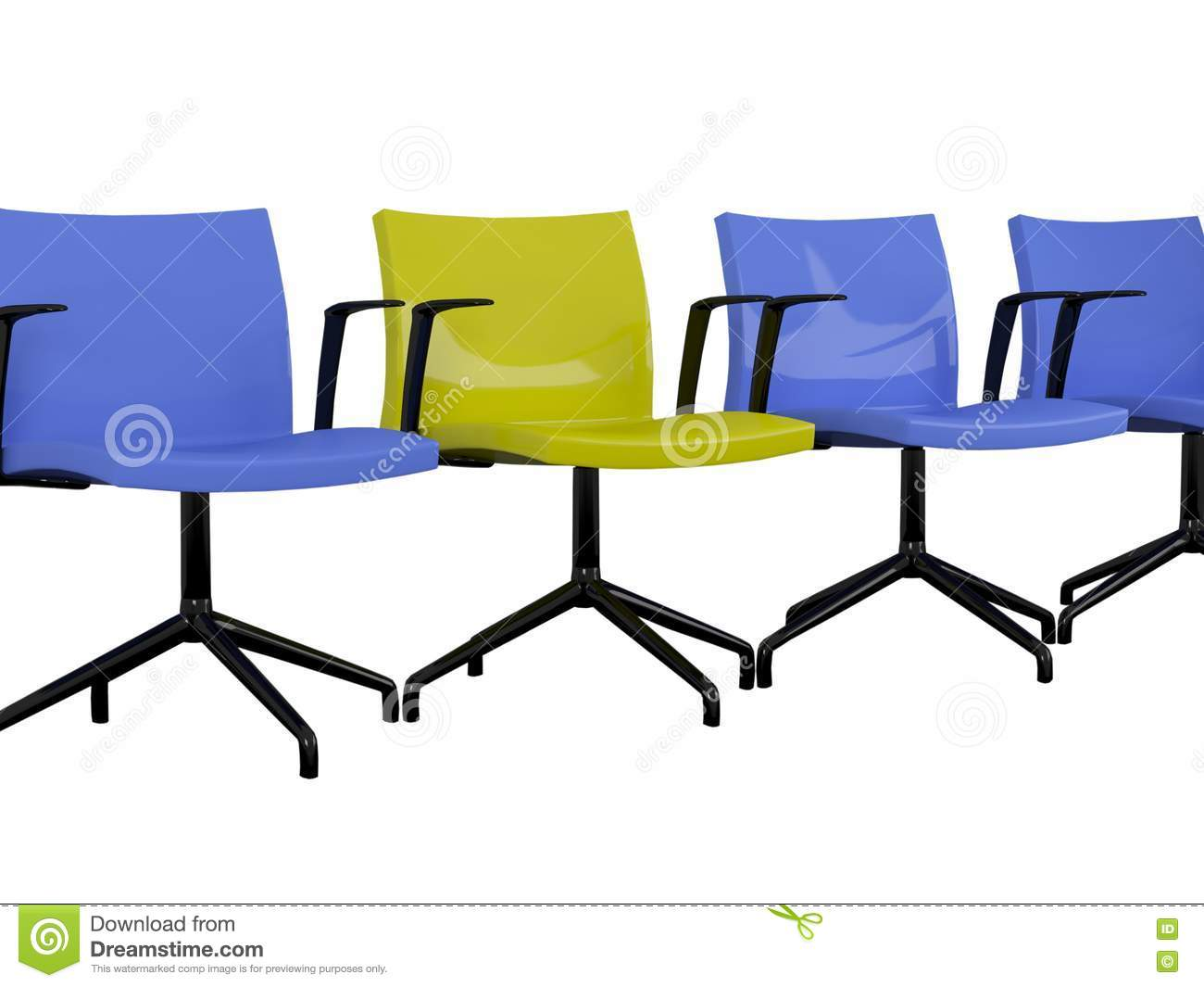 Blue And Yellow Office Armchairs Isolated Stock