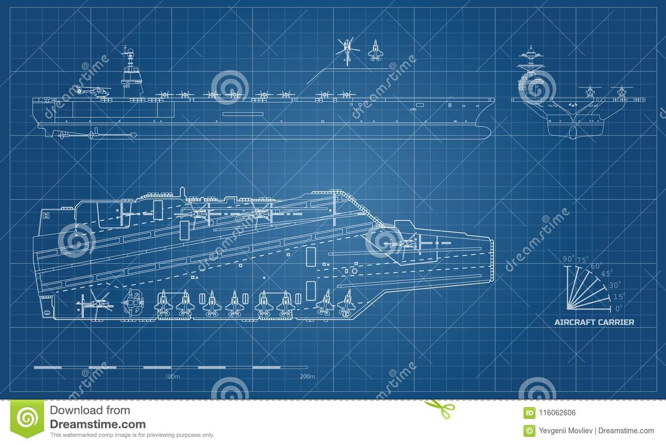 aircraft carrier diagram 2003 jeep tj radio wiring blueprint of military ship top front and side view battleship model industrial drawing warship in outline style vector illustration