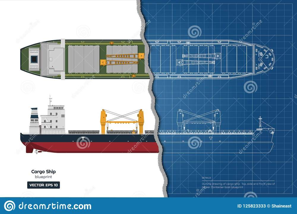 medium resolution of blueprint of cargo ship on white background top side and front view of tanker