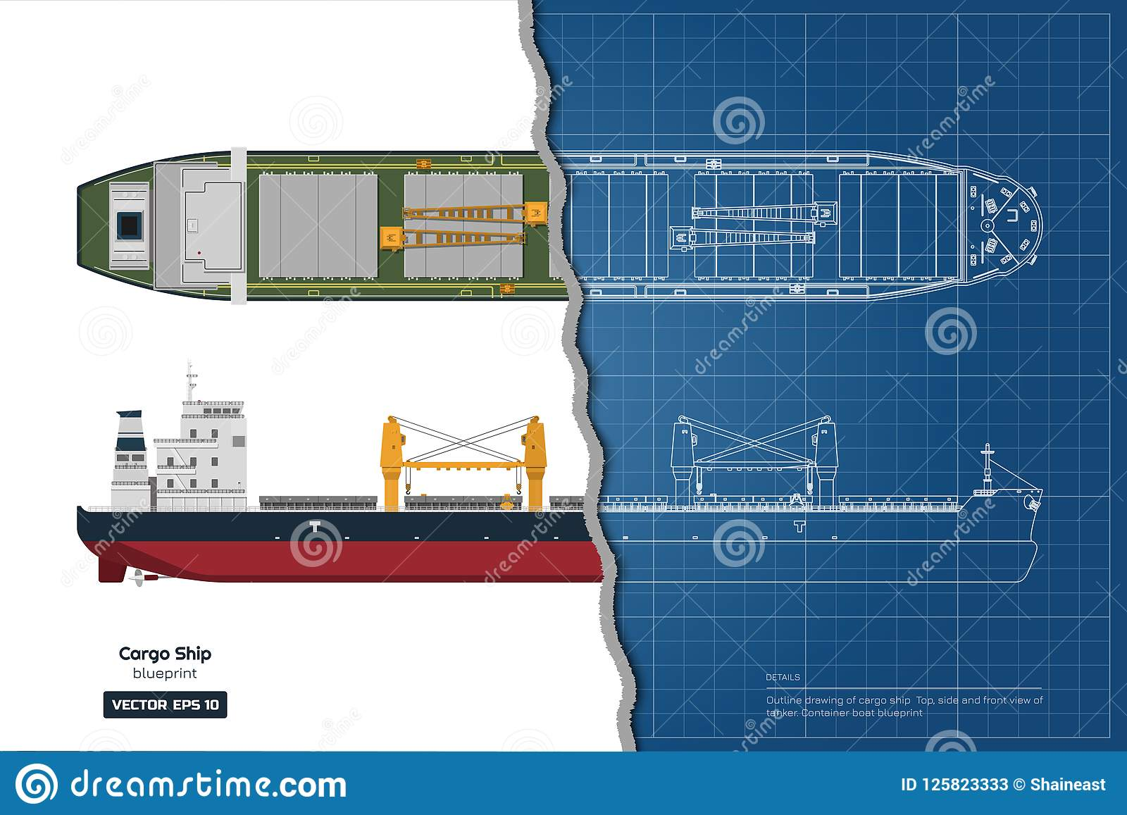 hight resolution of blueprint of cargo ship on white background top side and front view of tanker