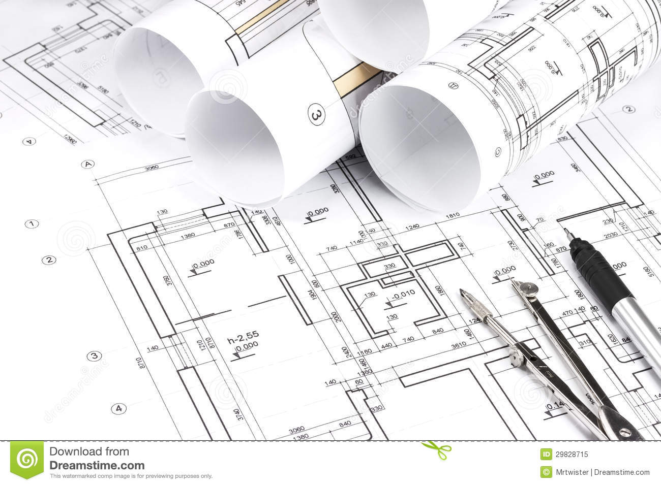 Rolled Building Plans Stock Image Image Of Number Detail