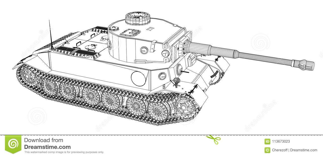 hight resolution of blueprint of realistic tank