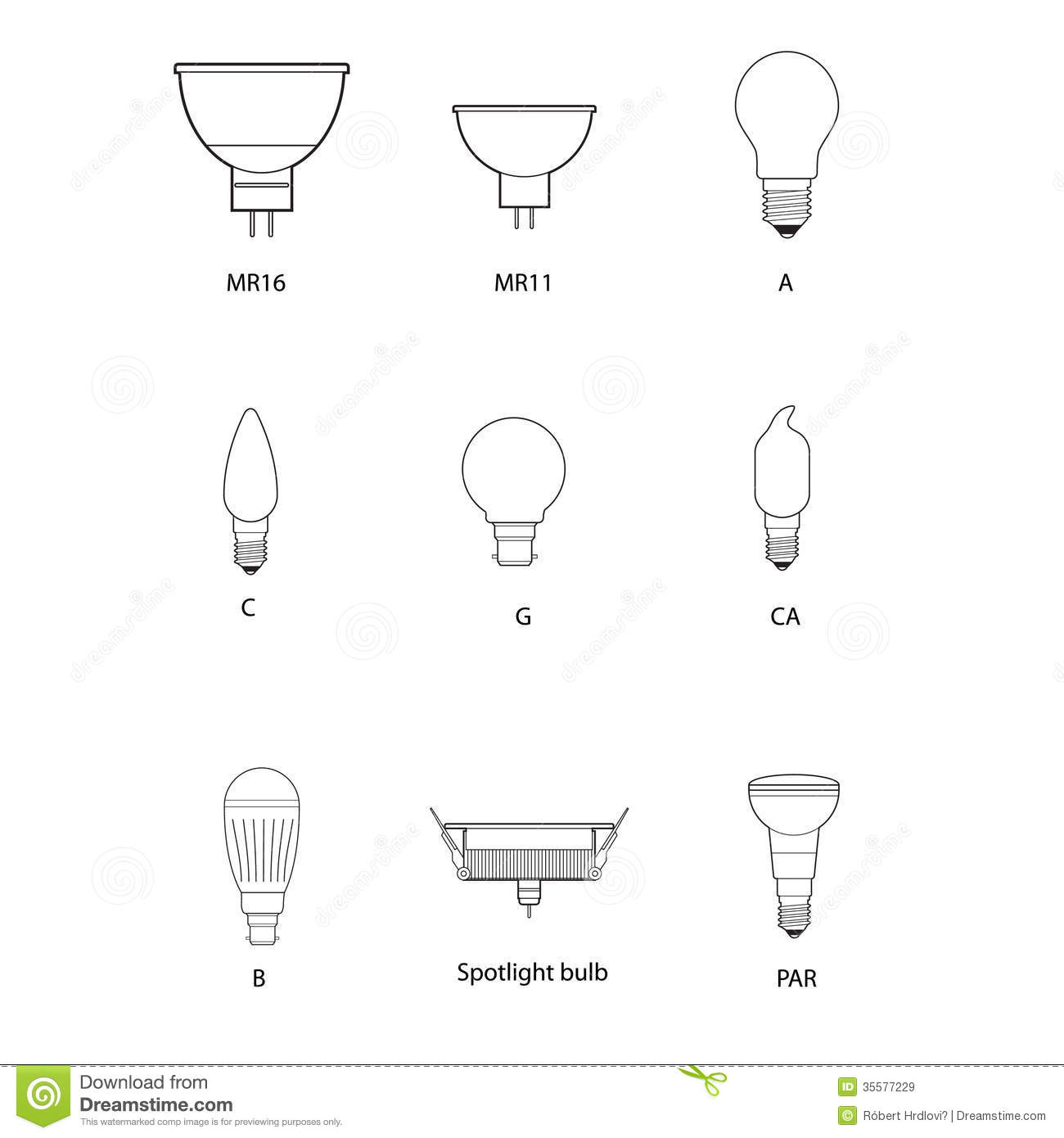 Blueprint Technical Draw Of Different Bulb Socket Stock Vector