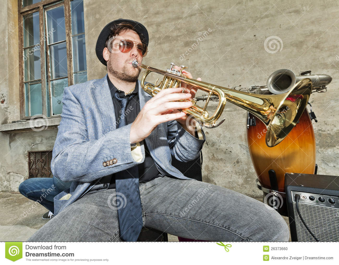 Blues Musician Test The Trumpet Stock Photo