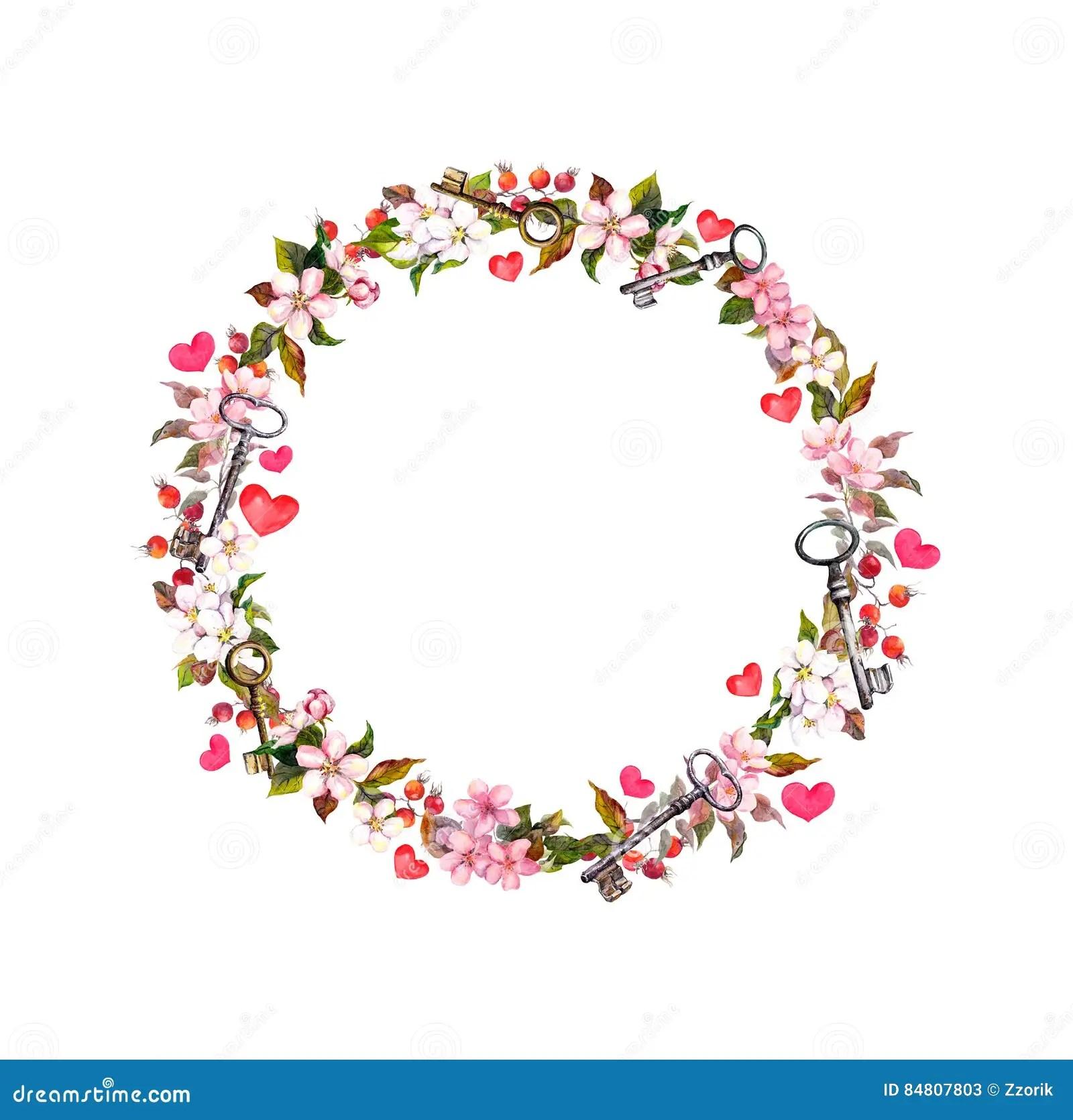 Blumenkranz Mit Rosa Blumen Herzen Schlssel