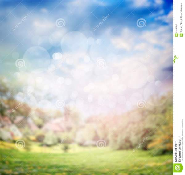 Blurred Summer Or Spring Nature Background In Garden Or