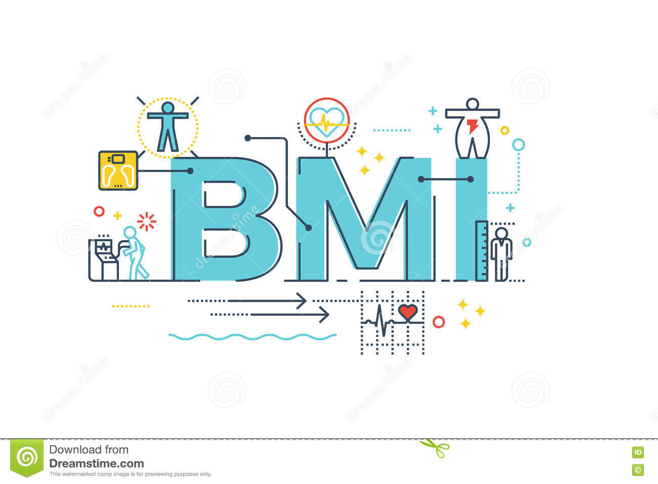 Bmi Body Mass Index Word Stock Vector Illustration Of